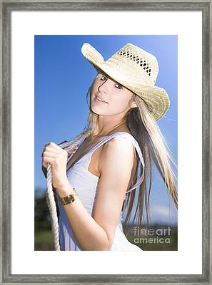 Young Woman With Cowboy Hat Framed Print