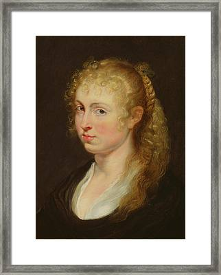 Young Woman With Curly Hair Framed Print by Rubens