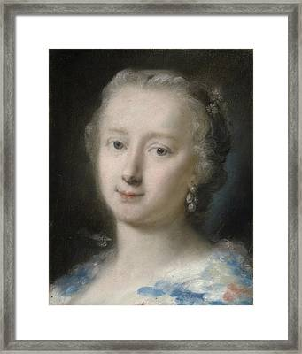 Young Woman With Flowers In Her Hair Framed Print by Rosalba Carriera