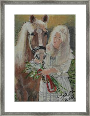 Young Woman With Horse Framed Print by Francine Heykoop