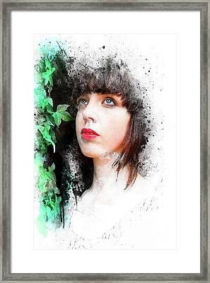 Young Woman With Ivy Framed Print by Mark Fearon