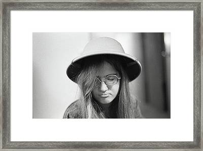 Young Woman With Long Hair, Wearing A Pith Helmet, 1972 Framed Print