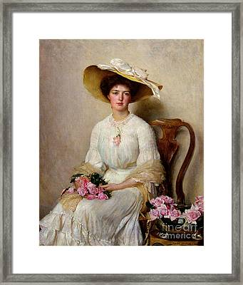 Young Woman With Roses Framed Print by MotionAge Designs