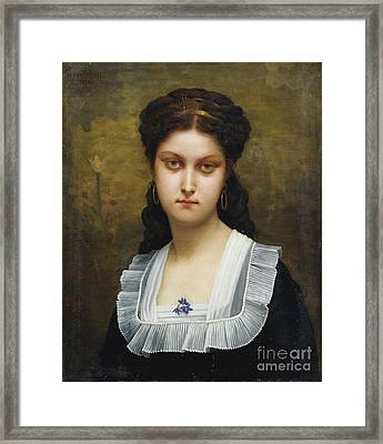 Young Woman With Violets Framed Print