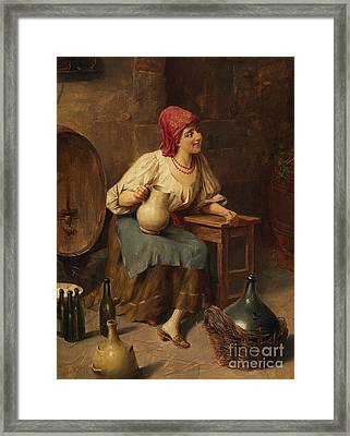 Young Woman With Wine Jugs And Bottles Framed Print by Celestial Images