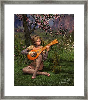 Young Women Playing The Lute Framed Print by John Junek