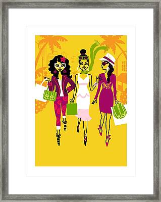 Young Women With Shopping Bags Framed Print by Gillham Studios