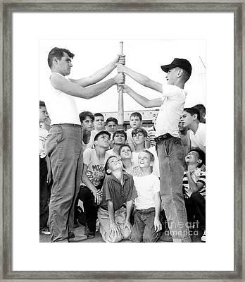 Youngsters Of Boys Club Of Queens Chooses Sides For Baseball Game. 1958 Framed Print by William Jacobellis