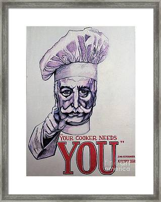 Your Cooker Needs You Framed Print by Michelle Deyna-Hayward