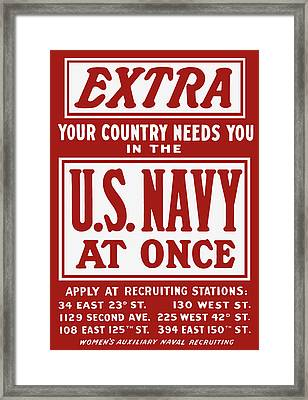 Your Country Needs You In The Us Navy Framed Print by War Is Hell Store
