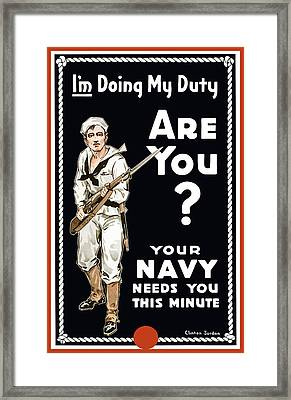 Your Navy Needs You This Minute Framed Print by War Is Hell Store