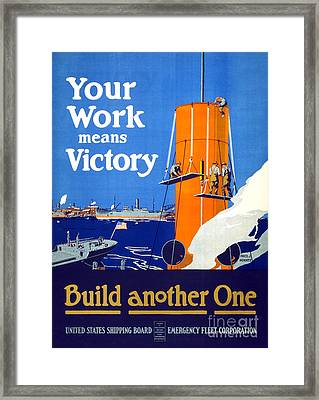 Your Work Means Victory Vintage Wwi Poster Framed Print
