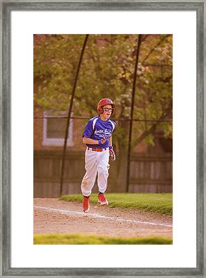 Youth Baseball Match Framed Print