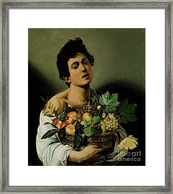 Youth With A Basket Of Fruit Framed Print by Michelangelo Merisi da Caravaggio
