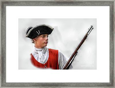 Youthful Soldier With Musket Framed Print by Randy Steele