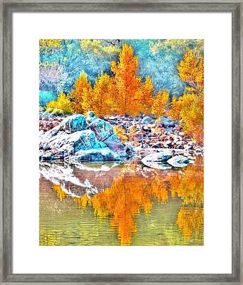 Yuba River Fall Reflection Framed Print