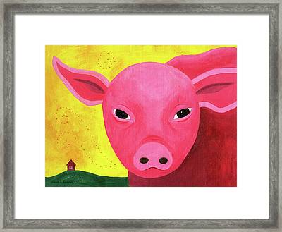 Yuling The Happy Pig Framed Print by Kristi L Randall