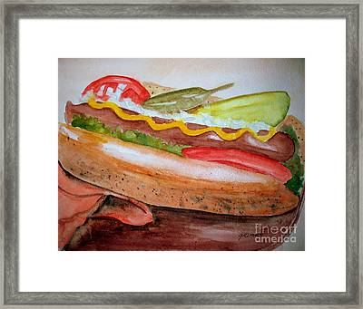 Yummy Chicago Dog Framed Print