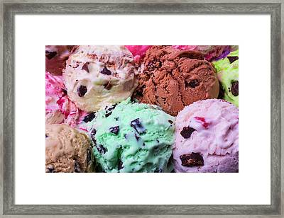 Yummy Scoops Of Ice Cream Framed Print by Garry Gay