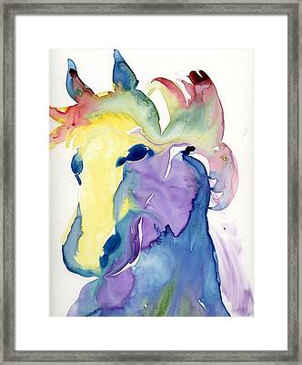 Yupo Horse Framed Print by Janet Doggett