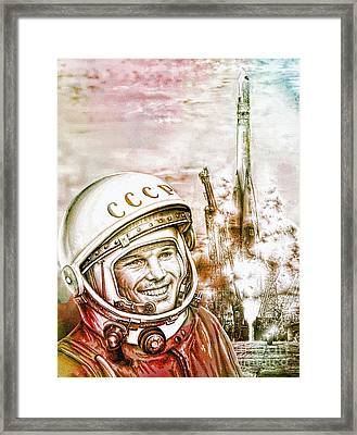 Yuri Gagarin - Cosmonaut 1961 Watercolor Framed Print by Ian Gledhill