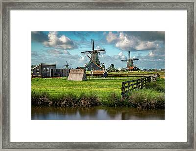 Zaanse Schans And Farm Framed Print by James Udall