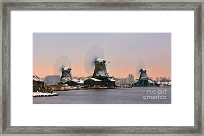 Zaanse Schans In Winter Framed Print by Henk Meijer Photography