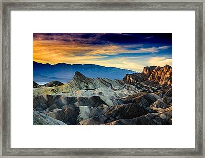 Zabriskie Point At Sundown Framed Print