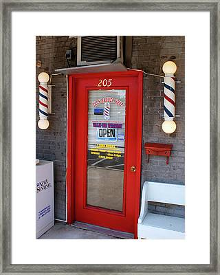 Zacs Barber Shop Framed Print