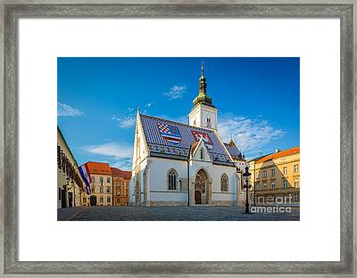 Zagreb St Mark's Church Framed Print by Inge Johnsson