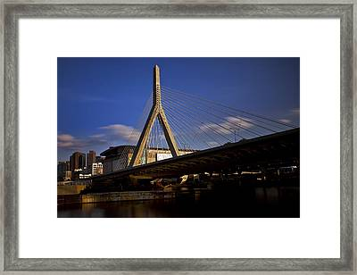 Zakim Bridge And Boston Garden At Sunset Framed Print