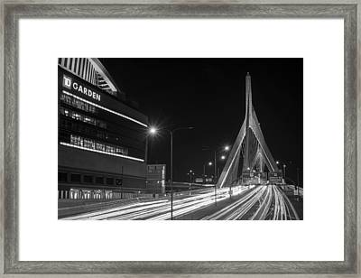Zakim Bridge And Td Garden Boston Ma Long Exposure Black And White Framed Print
