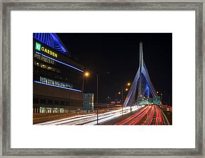 Zakim Bridge And Td Garden Boston Ma Long Exposure Framed Print