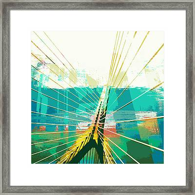 Zakim Bridge Boston V1 Framed Print by Brandi Fitzgerald