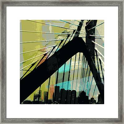 Zakim Bridge Boston V2 Framed Print by Brandi Fitzgerald