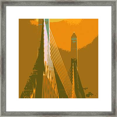 Zakim Bridge Boston V6 Framed Print by Brandi Fitzgerald
