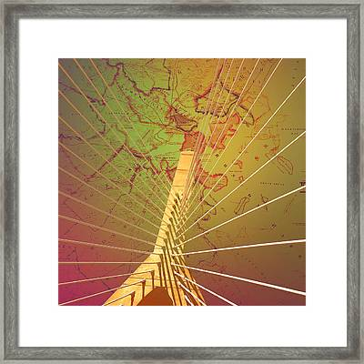 Zakim Bridge Boston V7 Framed Print by Brandi Fitzgerald