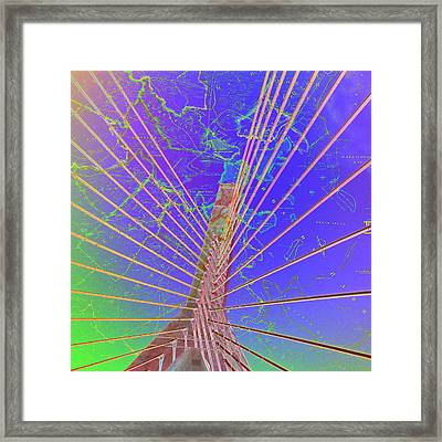Zakim Bridge Boston V8 Framed Print by Brandi Fitzgerald