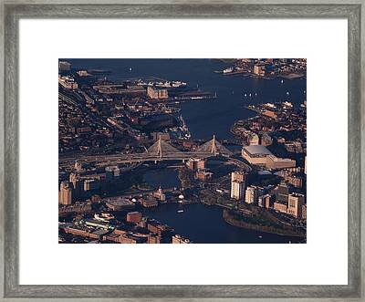 Framed Print featuring the photograph Zakim Bridge In Context by Rona Black