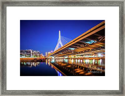Zakim Bunker Hill Bridge At Night Photo Framed Print by Paul Velgos