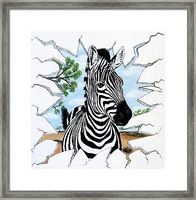 Framed Print featuring the painting Zany Zebra by Teresa Wing