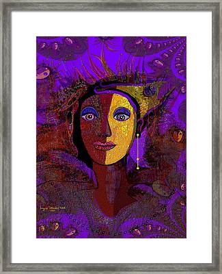 Zarah With Golden Earring  - 194 Framed Print by Irmgard Schoendorf Welch