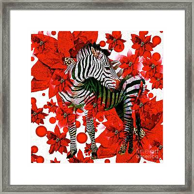 Zebra And Flowers Framed Print by Saundra Myles
