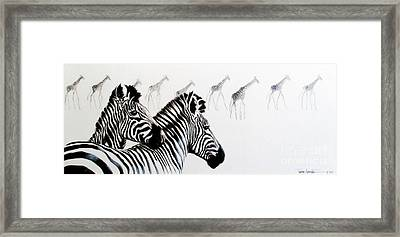 Zebra And Giraffe Framed Print