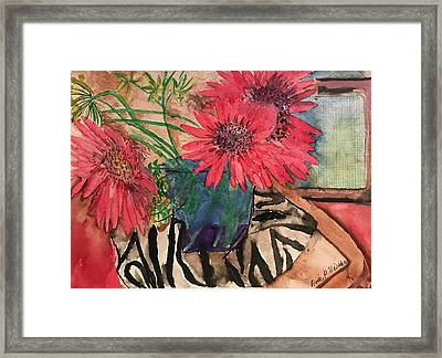 Zebra And Red Sunflowers  Framed Print