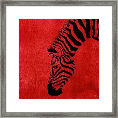 Zebra Animal Red Decorative Poster 7 - By  Diana Van Framed Print by Diana Van