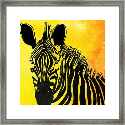 Zebra Animal Yellow Decorative Poster 2  - By  Diana Van Framed Print by Diana Van