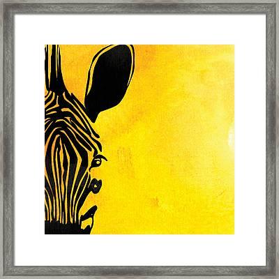 Zebra Animal Yellow Decorative Poster 7 - By  Diana Van Framed Print by Diana Van