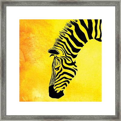 Zebra Animal Yellow Decorative Poster 8 - By  Diana Van Framed Print