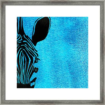 Zebra Animal Blue Decorative Poster 3 - By  Diana Van Framed Print by Diana Van